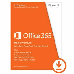 Microsoft Office 365 Home Premium Medialess - 1 Year Subscription 5 User 5 Devices - Electronic Download, ESD DELIVERY MAY TAKE UP TO 48 HOURS FROM TIME OF ORDERING
